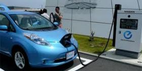 A Nissan Leaf charging.