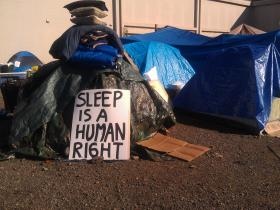 Homeless people have been camped in high-profile places in Eugene to raise awareness of their plight.