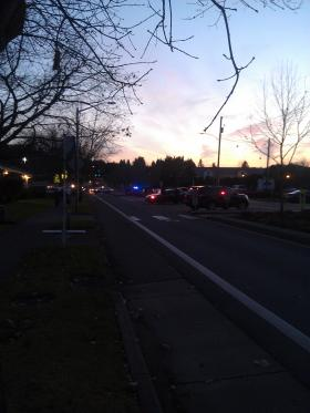 The shooting took place on Churchill High School grounds. This photo was taken on Bailey Hill Road a few hours later.