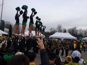 The battle of the marching bands, cheerleaders, and mascots. Civil War game at Autzen 2013