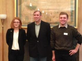 UO students Whitney Logue and Connor Gagner met with Sen. Jeff Merkley (middle) Friday to celebrate senate passage of the Employment Anti-Discrimination Act.