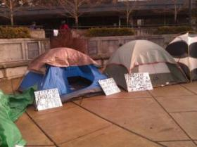 Homeless advocates camped at Free Speech Plaza in Eugene.