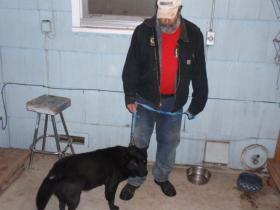 Juventino Guijosa and his dog, Sisi.
