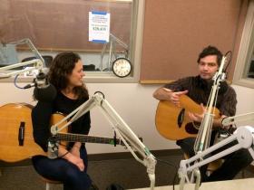 Beth Wood and John Shipe talk songwriting before playing at KLCC.