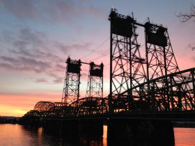 Interstate 5 spans the Columbia River between Portland, Oregon and Vancouver, Washington.