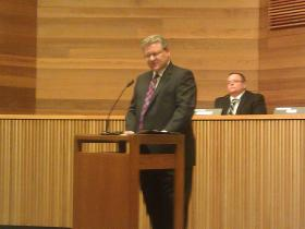 "Lane County Board Chair Sid Leiken delivers the ""State of the County"" address."