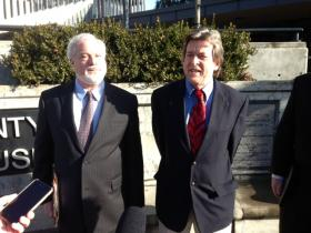 Attorney Daniel Stotter and former Lane Co. Commissioner Bill Fleenor announced a public records lawsuit against the county Monday, Jan. 13, 2014.