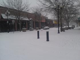 A snowy downtown Eugene Friday.