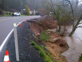 Erosion on Highway 20 embankment