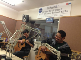 Mamo's Jeff Peterson and Nathan Aweau in the KLCC studios.