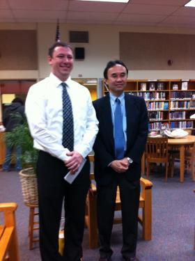 Principal Eric Anderson with Japanese Consul Hiroshi Furusawa.