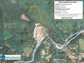 Washington Department of Natural Resources image shows 2005 clearcut extending into no-logging zone at site of Oso landslide.