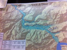 Inundation map for Oakridge, if the Hills Creek Dam were to fail.