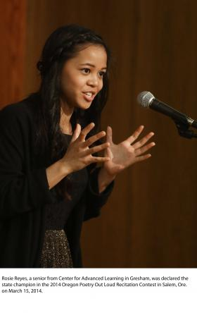 Oregon Poetry Out Loud winner Rosie Reyes.