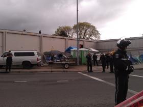 Eugene Police surround Whoville camp Friday morning.