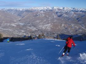 Notice the brown hills around Sun Valley in this panorama snapped on Dec. 29, 2013. Snowmaking allowed the famous resort to operate during the crucial holiday period.