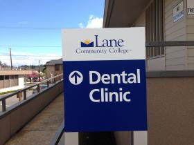 Follow the sign to the new LCC Dental Clinic, located at 2460 Willamette Street in Eugene.