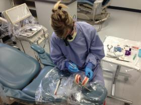 Second year student Jenny Tegner works on a mouth mannequin to help prepare for an exam.