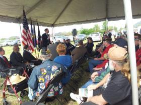Oregon Senator Ron Wyden speaks to Veterans at VA health facility groundbreaking in Eugene.