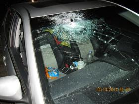 Car hit Sunday by cinder block on I-5 in Creswell