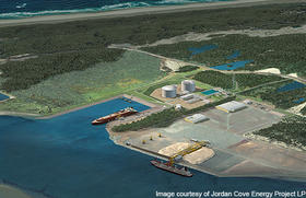 An artist's rendering of the Jordan Cove facility on Coos Bay.