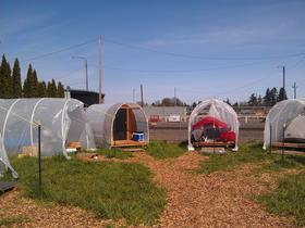 At Eugene Safe Spot tents are on platforms and covered by roofs.
