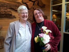 Barb Bellows and Pam Irwin lined up to get a marriage license in Eugene.