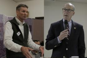 Klamath County Commissioner Dennis Linthicum (left), is challenging incumbent Republican Congressman Greg Walden (right) in the May primary.