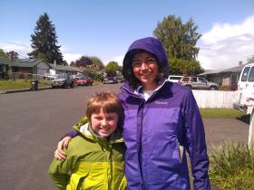 Dawn Lesley was joined by her son Clayton on a recent day of canvassing voters.