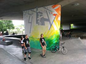 The beginning stages of one of Esteban Camacho's new murals at Washington Jefferson Skate Park.