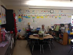 Pleasant Hill first grade teacher Debbie Laney works on lesson plans while her students are at recess.