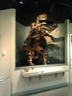 A sculpture of the Ice-Age giant sloth that once roamed Oregon.