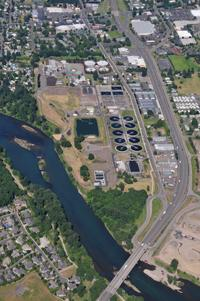 An areal view of Metropolitan Wastewater Management Treatment Plant