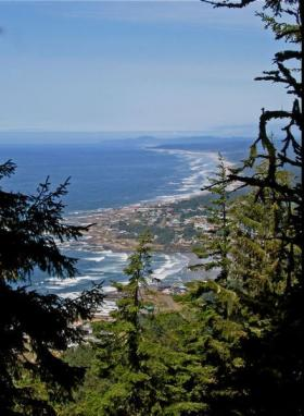 Yachats as seen from the summit of Cape Perpetua.
