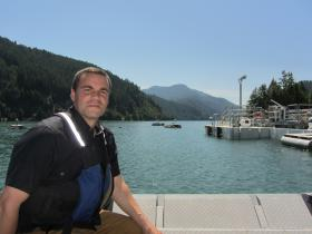 Army Corps Fish Biologist Greg Taylor takes a boat out to the PFFC - Portable Floating Fish Collector on Cougar Reservoir.