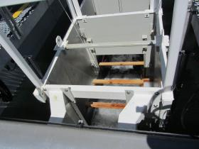 Water flows through the bottom of the PFFC - Portable Floating Fish Collector, hopefully bringing fish into the collection box.