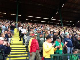 The enthusiastic crowd at Hayward Field on the final day of the 2014 NCAA Outdoor Track & Field Championships in Eugene, Oregon.