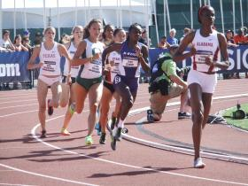 Oregon's Laura Roesler (third from left) in a heat of the 800m Wednesday.  She went on to become National Champion in the event on Friday.