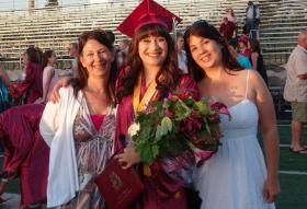 Amber Lee graduated in 2014 from Willamette High School in Eugene. She's here with her mom and older sister.