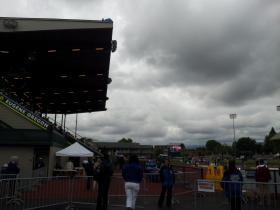 Black clouds drift over Hayward Field on day three of the NCAA Track & Field Championships.