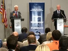 GOP challenger Dennis Richardson (left) and incumbent Democratic Governor John Kitzhaber debated in Salem Friday.