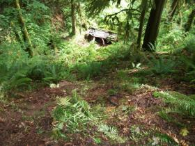 Jon Culton's overturned car went off the road and over an embankment on Hwy. 34.