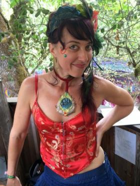 Jorah LaFleur at the KLCC broadcast booth at the Oregon Country Fair