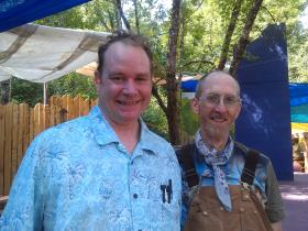 "Christopher Huson (right) and Maque DaVis play clowns in ""Beauty and the Beast"" at the Oregon Country Fair."