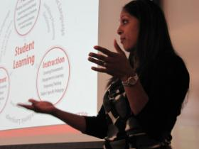 Saroja Barnes with the American Association of Colleges of Teacher Education gives a presentation at a recent gathering of Oregon education leaders and teaching professors