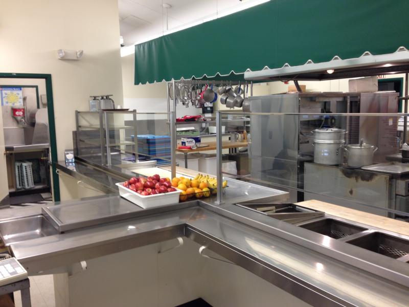 The kitchen and serving area at Hamlin.