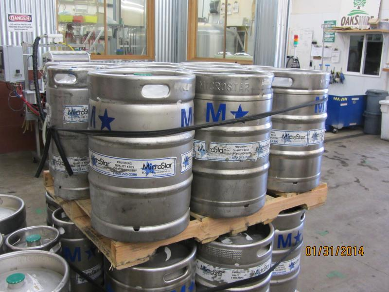 Beer kegs at Oakshire Brewing in Eugene.
