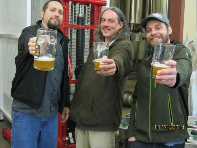 Cheers from Matt VanWyck of Oakshire and Jason Carriere and Scott Siebar of Falling Sky.