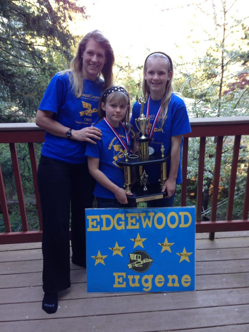 Edgewood's winning OBOB team included parent volunteer and co-coach Bree Bouse and her two daughters, Katelyn and Kelsey Bouse.