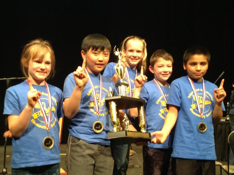 Edgewood Elementary's OBOB team took home the first place trophy and medals. Kelsey Bouse (3rd grade), Michael Ahn (5th), Katelyn Bouse (5th), Sam Collier (5th) and Jose Santiago (5th).